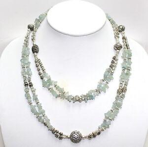 Necklace natural aquamarine gemstone chips beaded handmade jewelry 88 grams