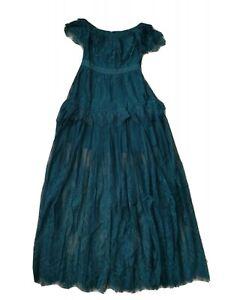 self portrait off shoulder green emerald lace maxi long dress size UK 8