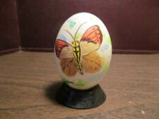 Decorative Real Egg on Wood Stand - Hand Painted Butterfly - Price Imports - Iob