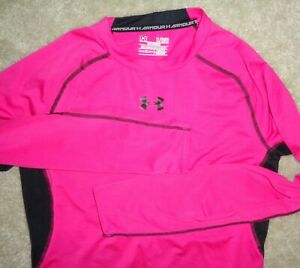 Under Armour Mens XL Hot Pink Compression Heat Gear LS Fitness Gym T Shirt Great