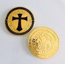 Knights Templar Medallion Poker Guard Card Holder Black Cross Challenge Coin