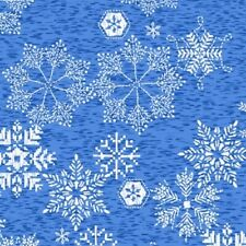 Andover Northern Lights 9097 B Blue Snowflakes  Cotton