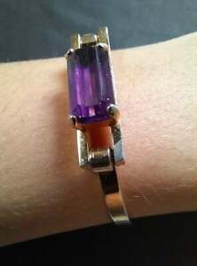 VINTAGE AVON 1970s Gold Tone Purple Amethyst Bangle Bracelet