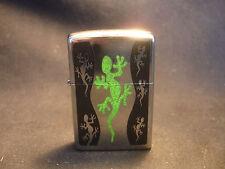 2008 Silver Tone Zippo Lighter Lizard Gecko Design Bradford PA USA