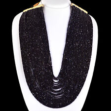 BEAUTY 810.00 CTS NATURAL 20 STRAND RICH BLACK SPINEL ROUND CUT BEADS NECKLACE
