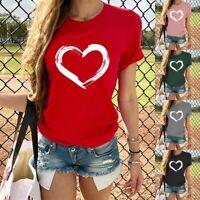 Women's Fashion Love Print Short Sleeve T-Shirt Summer Casual Graphic Tess Tops