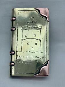 Rare 1918 Salonica Trench Art Brass & Copper Book Form Lighter By A.Paskell