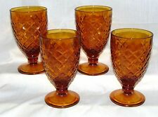"""4 Anchor Hocking WATERFORD/WAFFLE AMBER *5 5/8"""" GOBLETS* HARD TO FIND*"""