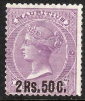 Mauritius 1878 bright-mauve 2r.50c on 5/- crown CC mint SG91