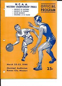 1946 NCAA Western Championship Program Oklahoma A&M Baylor Cal Colorado NICE!!
