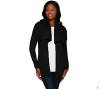 Lisa Rinna Collection Open Front Sweater with Pockets Black Color Size XXS