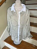 Lane Bryant Khaki & White Business Casual Dress Blouse Top Shirt Sz 20 ❤️tb11j7
