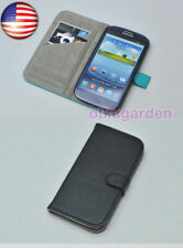 US Seller BLACK FLIP CASE COVER POUCH PU LEATHER FOR SAMSUNG GALAXY S3 i9300
