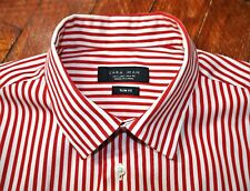 ZARA MAN Long Sleeve SLIM FIT Button Front White & Red Striped Shirt size 40/L