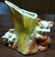 Vtg Bear Cub Brown and Yellow Planter American Bisque Pottery Tree Stump