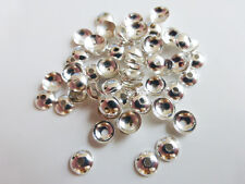 50 X Ronda latón Casquillas 5mm Plata endbeads resultados Craft Supplies