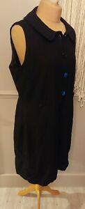 Hobbs Black Shift Dress UK 18 Buttons 60s Style Pockets Wool Textured Party