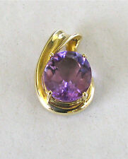 10k Yellow Gold 4 Prong-Set Large Oval Amethyst Fluted Pendant--Free Shipping!