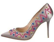 Nuevo Manolo Blahnik Bestegui BB Bomba Satén Gris Rosa Amarillo Azul Shoes 38.5