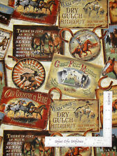 Rodeo Cowboy Horse Western Scenes Toss Cotton Fabric QT Round 'Em Up By The Yard