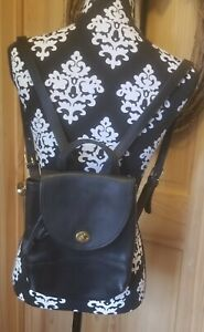 COACH Vintage Turn Lock Mini Backpack Hand Bag Leather Black Purse
