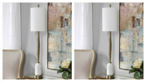 """TWO MINETTE UPSCALE MODERN XXL 40"""" MARBLE & METAL BUFFET TABLE LAMP UTTERMOST"""