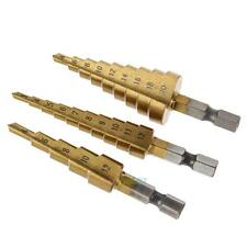 3x Metric HSS Step Titanium Cone Drill Hole Cutter Bit Set Tool 4-12/20/32mm UK