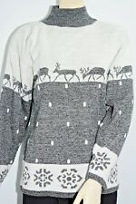 Vtg Ugly Sweater Christmas Pull Over NWT's Reindeer Snow Mock Turtle Women's Sml