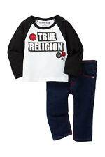 NEW TRUE RELIGION BABY BOYS OUTFIT 2PC LONG SLEEVE TOP JEANS SET 18M