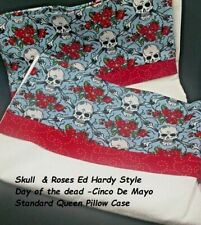 Skull & Roses Day of the dead   Ed Hardy Style Standard Queen PillowCase Set