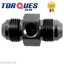 "AN -6 (AN6 AN 06) Male - Male Gauge Adapter + 1/8"" NPT Side Port in Black"