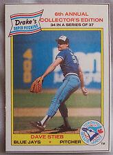 1986 DRAKES SUPER PITCHERS DAVE STIEB TORONTO BLUE JAYS