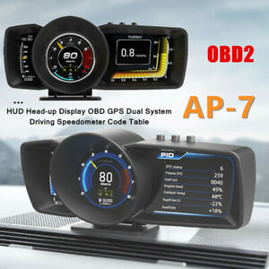 HUD Head-up Display Car Auto OBD2 GPS Dual System Driving Speedometer Code Table