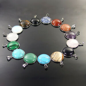 Natural Jasper Quartz Carnelian Obsidan Crystal Gemstone Round Pendant