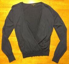 Banana Republic Women's Navy Blue Long Sleeve Wrap V-Neck Sweater - Size: Small