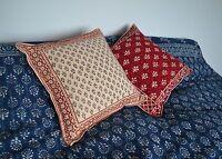 "Hand block printed Indian Cushion Cover Indigo 16x16"" 40x40cm ethnic alternative"
