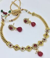 Indian Pakistani Ethnic Bollywood Polki Pink Ruby Pearl White Moti Necklace Set