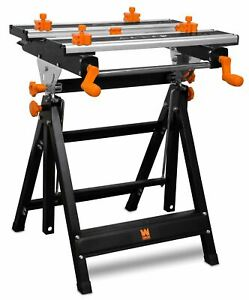 WEN 24-Inch Height Adjustable Tilting Steel Portable Work Bench and Vise with 8