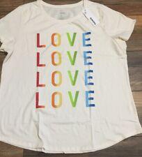 Sonoma Goods for Life Crew Neck Tee Short Sleeve T-Shirt Rainbow Love Love Love