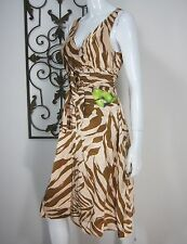 MARC BY MARC JACOBS SLEEVELESS DRESS SIZE 6 BROWN ANIMAL PRINT