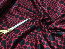 Smooth Liquid Satin Deep Red/Black Spotted/Geometric Print Fabric Material*NEW*