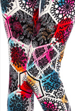Women's Multi Floral Spring Diamond Print Leggings Buttery Soft ONE SIZE OS 2-12