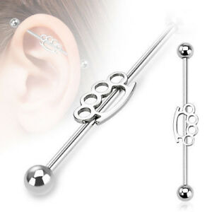 "PAIR 14G 1.5"" Industrial Barbells Steel Ear Cartilage Ring Piercing Body Jewelry"