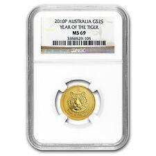 2010 Australia 1/4 oz Gold Lunar Tiger MS-69 NGC (Series II)
