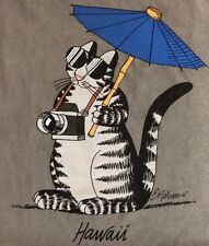 NWT MEN/UniSex L/XL KLIBAN TOURIST CAT Umbrella CRAZY SHIRTS Hawaii Crater Dyed