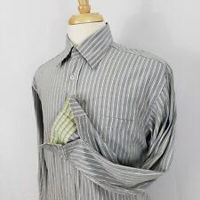Men Bugatchi Uomo Stripe Button-Front Multi-Color Dress Shirt Modal Rayon M