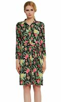 Verlina Women's Colorful Floral Collar Button-Up Casual Dress with Waist Belt
