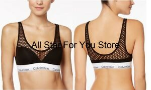 Calvin Klein Bralette Modern Cotton Push-Up Fishnet-Panel Bra QF4476 XS, S, L