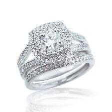 Cushion Halo Diamond Engagement Wedding Ring Set White Gold FN Women