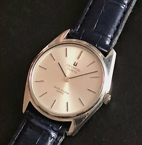 Universal Geneve White Shadow Ultra Thin Men's Watch Leather Belt SS